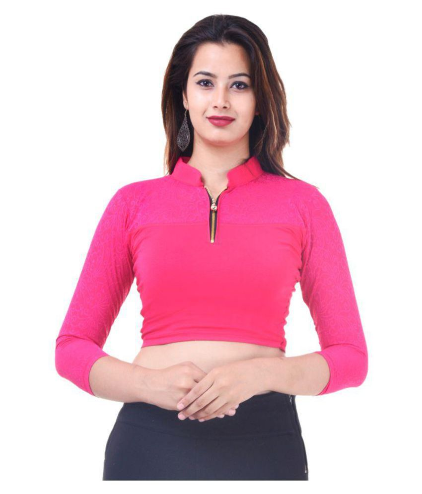 Wow Pink Lycra Readymade without Pad Blouse