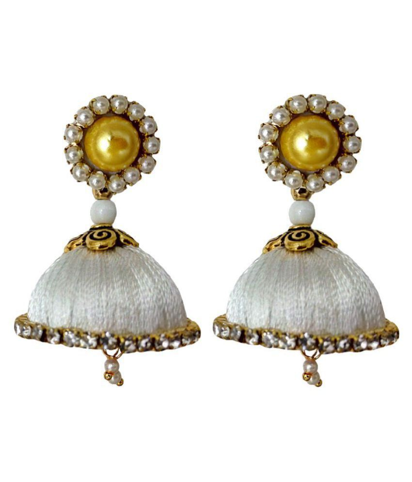 Handmade Silk Thread White Dangler Jhumka Earrings Model 1