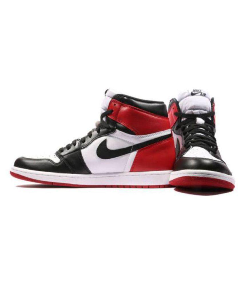 buy online ed5e6 089ed Nike Air Jordan 1 Retro Black Toe Multi Color Basketball Shoes