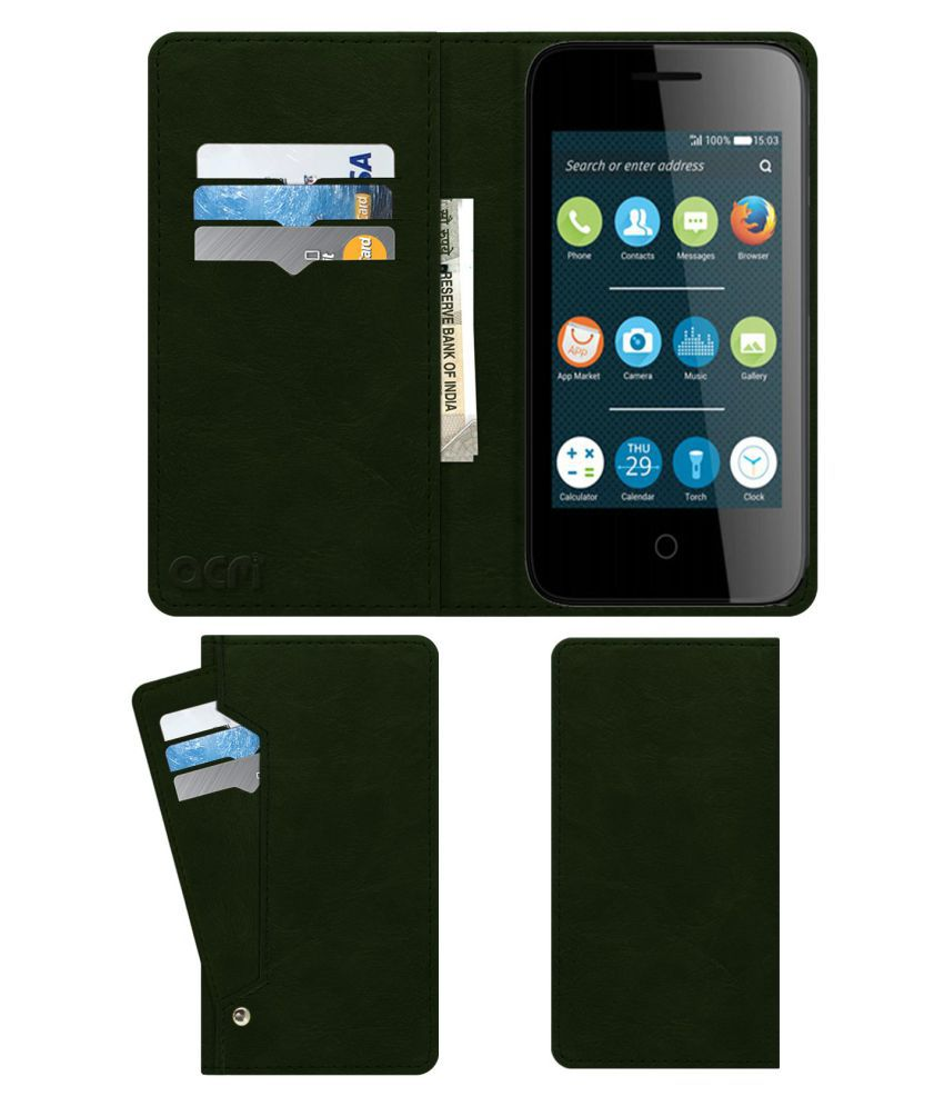 Alcatel Pixi 3 3.5 Flip Cover by ACM - Green Wallet Case,Can store 6 Card & Cash,Teal Green