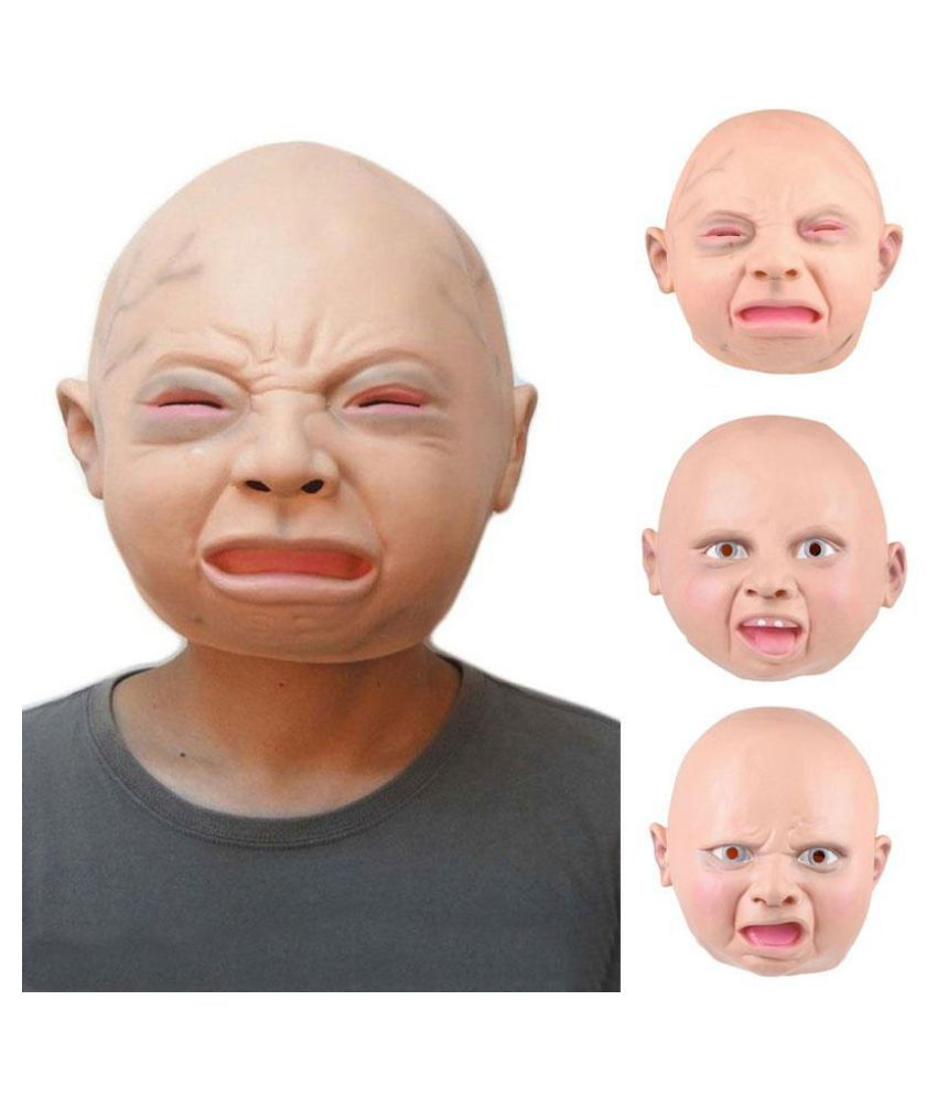 Funny Baby Latex Mask Halloween Cosplay Mask Angry Face Smiling Face