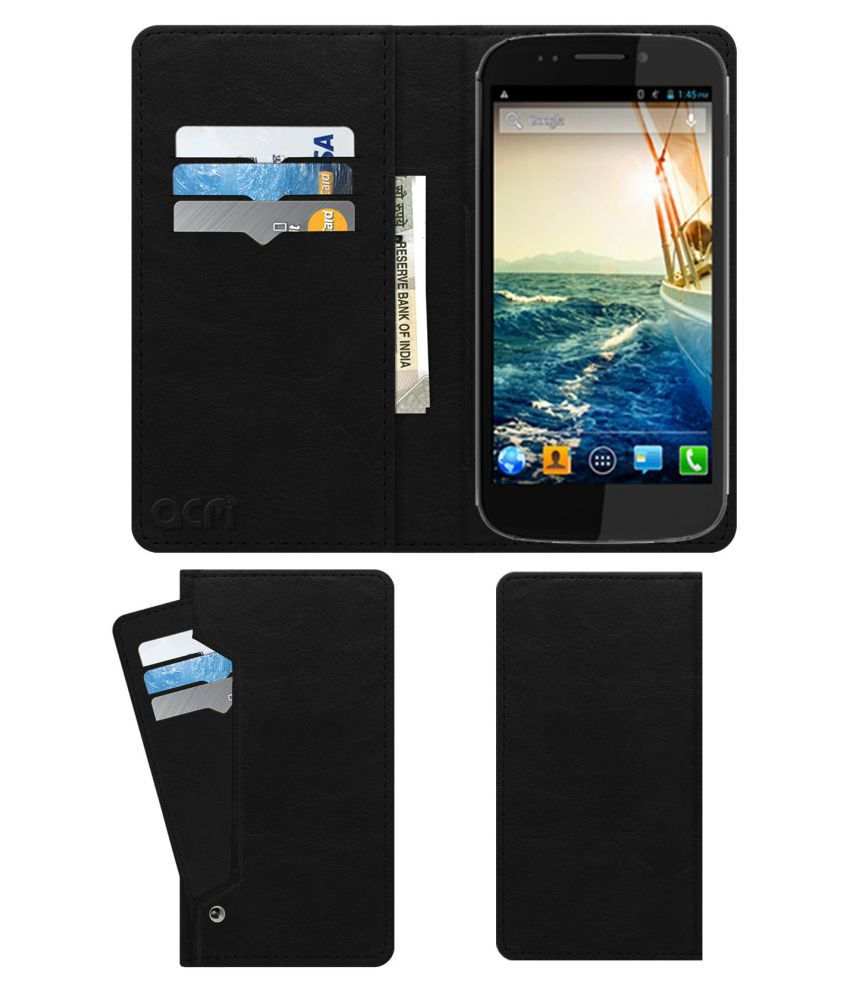 Micromax Canvas 4 A210 Flip Cover by ACM - Black Wallet Case,Can store 6 Card & Cash,Royal Black