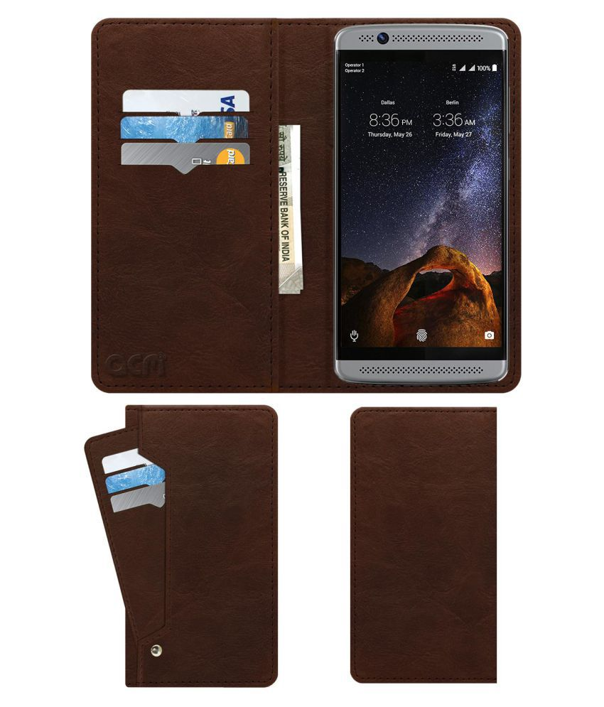 official photos 09fdb 9695a ZTE AXON 7 MINI Flip Cover by ACM - Brown Wallet Case,Can store 6 Card &  Cash,Rich Brown