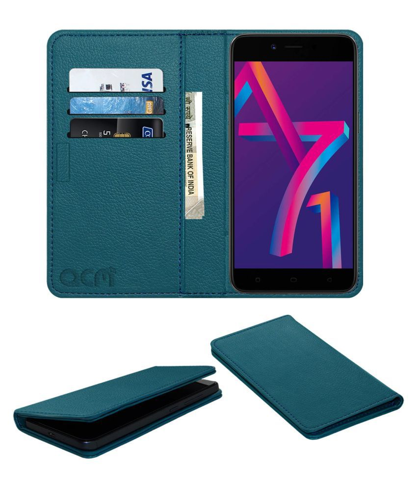 finest selection 76d8d eb3a7 Oppo A71K Flip Cover by ACM - Blue Wallet Case,Can store 3 Card/Cash