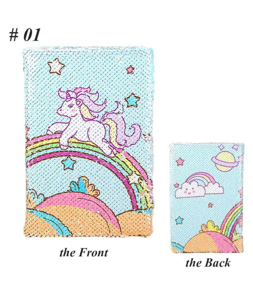 Unicorn Notebook, Reversible Sequin Notebook Magic Journal for Kids Adults Rainbow-Silver Sequin Diary Mermaid Notepad for Festival Birthday Gifts