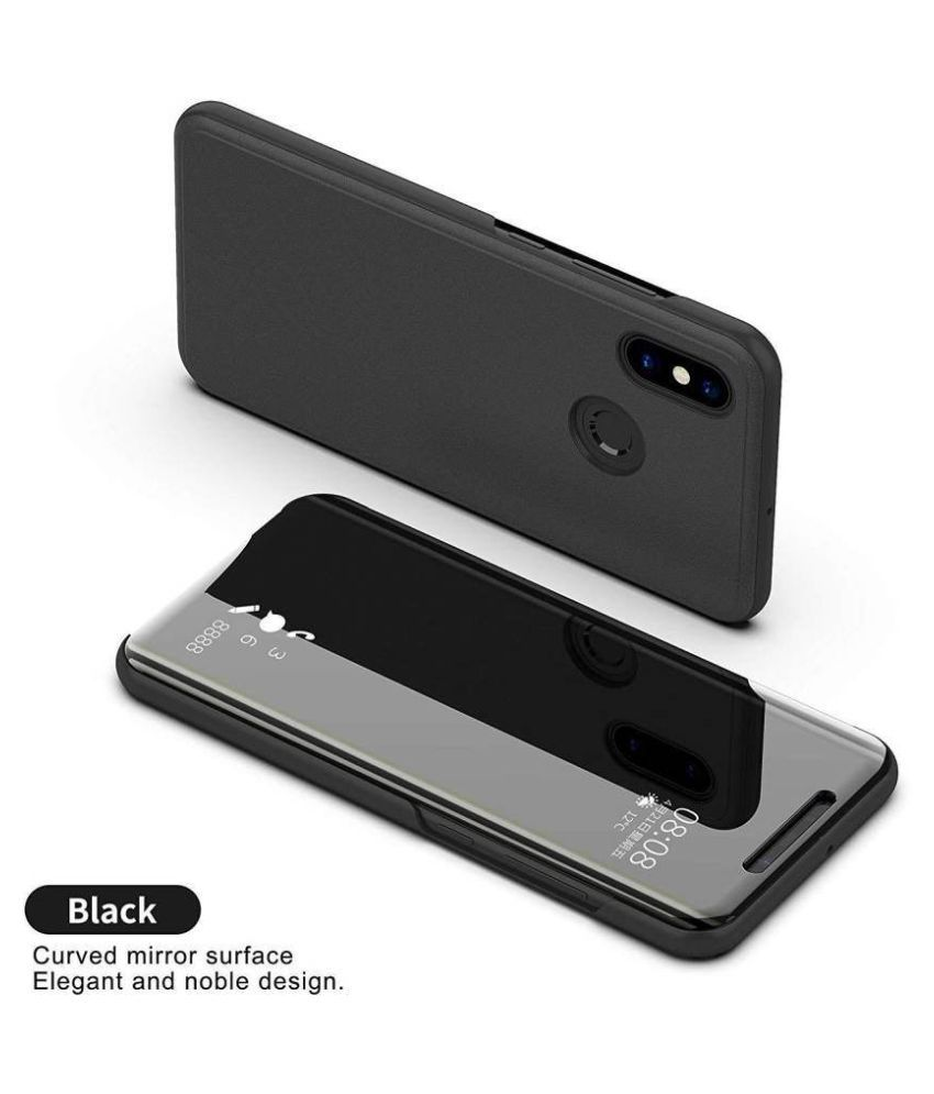 Huawei Nova 3i Flip Cover by YGS - Black Semi Transparent Clear View Mirror  Stand Flip