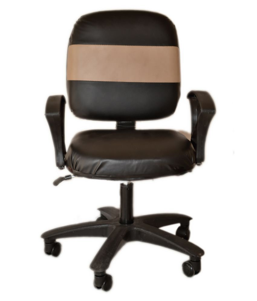 Mezonite Low Back Black Cushioned Leatherette Executive Office Study Chair