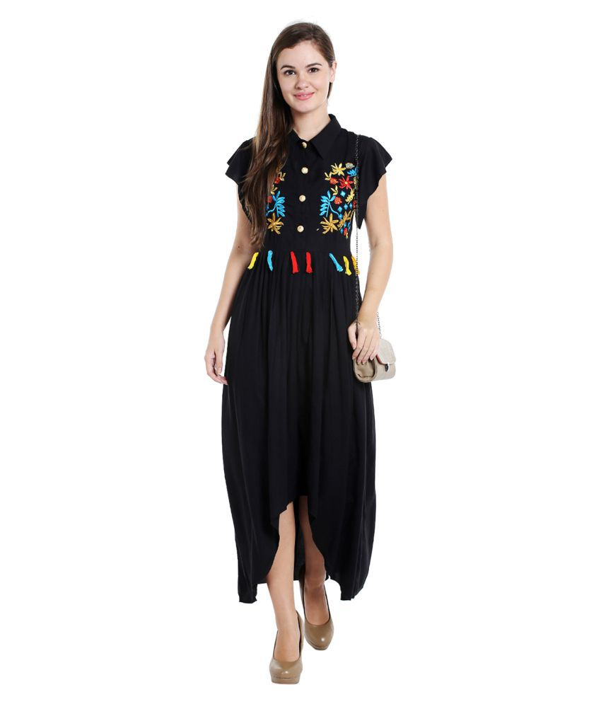 15b8c9f404d80d Ishin Rayon Black A- line Dress - Buy Ishin Rayon Black A- line Dress Online  at Best Prices in India on Snapdeal