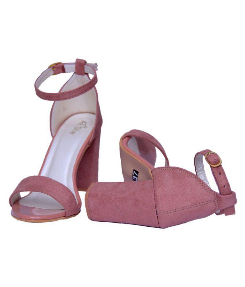 bde84c4f9f9 AnShe PeachPuff Block Heels Price in India- Buy AnShe PeachPuff ...