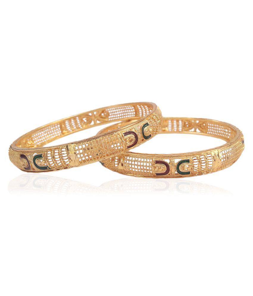 Shreegokul Traditional Fancy Designer Casual Party Wedding Wear Original Hand Meena Work Gold-plated Bangles set for Women