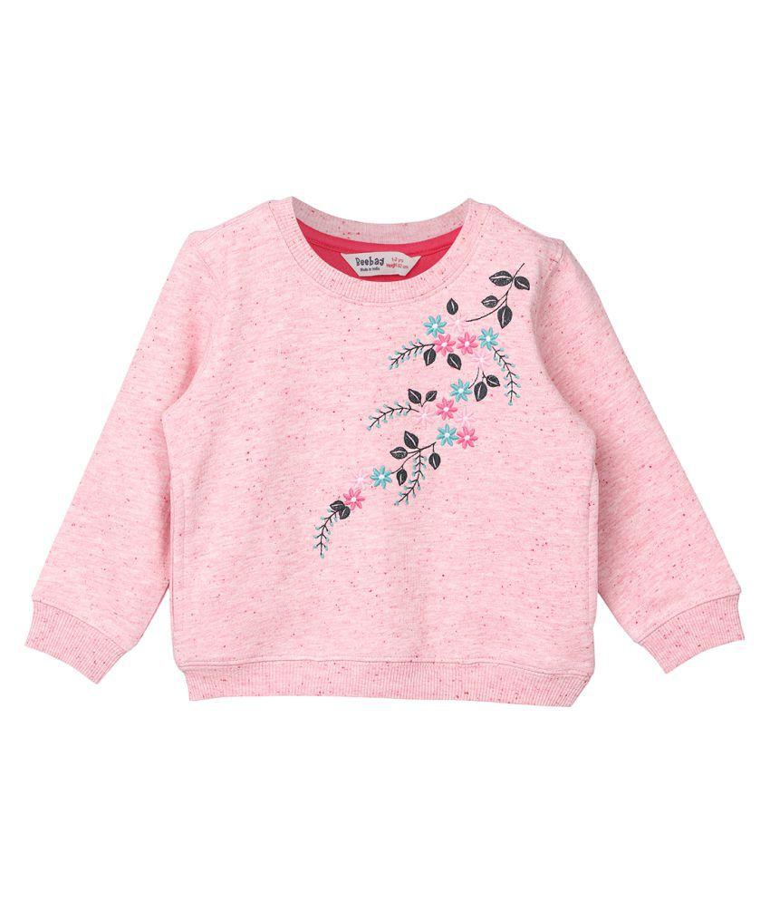 Floral Embroidered Melange Sweatshirt Pink 5-6Y