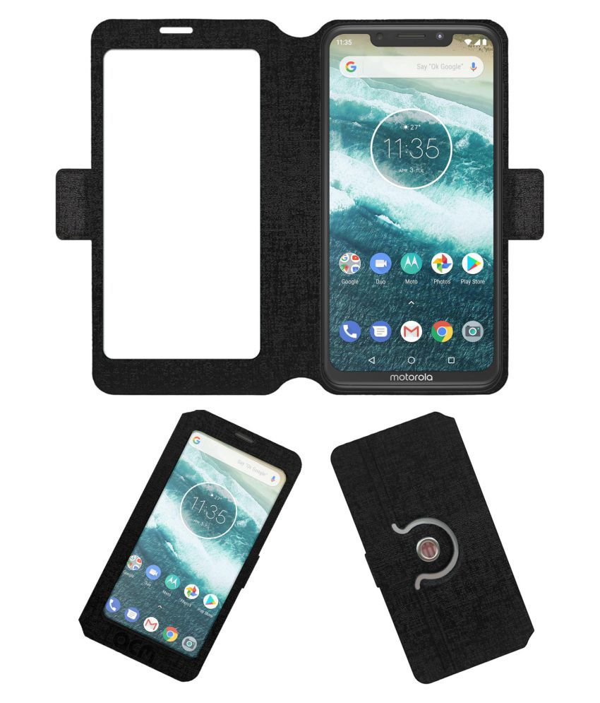 Motorola One Power Flip Cover by ACM - Black Dual Side Stand