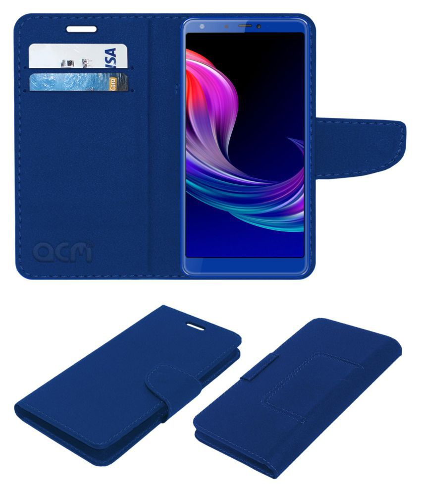Panasonic Eluga Ray 600 Flip Cover by ACM - Blue Wallet Case,Can store 2 Card/Cash