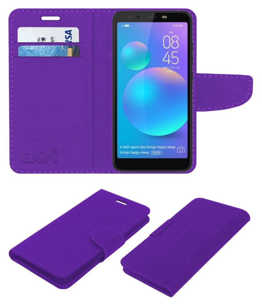 Tecno Camon i ACE Flip Cover by ACM - Purple Wallet Case,Can store 2 Card/Cash