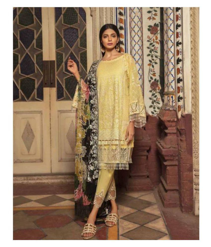 Pakistani Suits Brown and Beige Cotton Dress Material