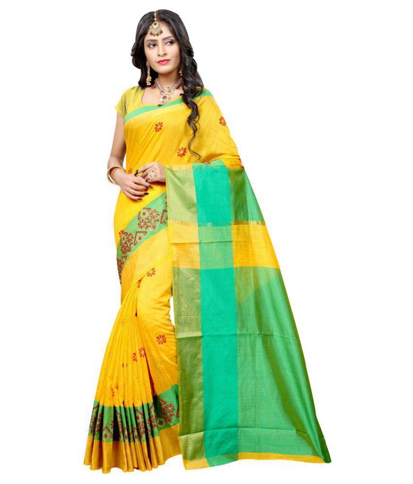 Kumaran Silks Green and Yellow Raw Silk Saree