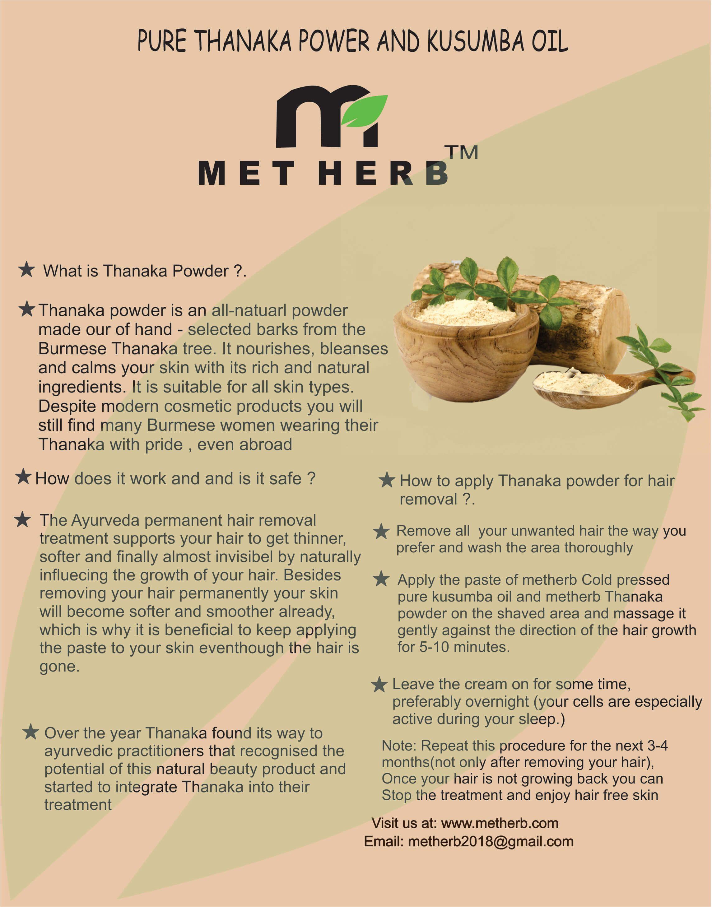 metherb Facial Kit Thanaka powder for hair removl 50 gm