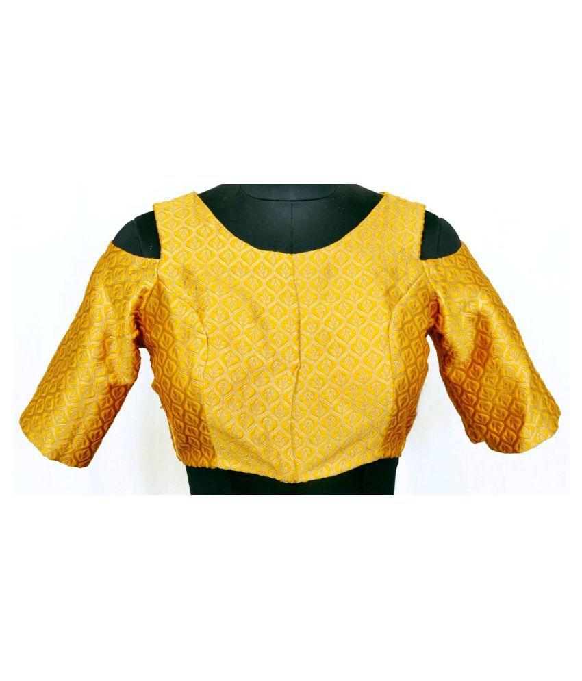 Stitch O Fab Yellow Brocade Readymade with Pad Blouse