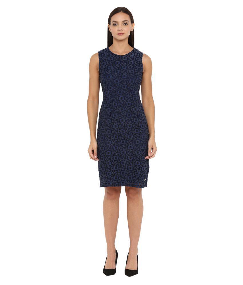 Park Avenue Woman Cotton Blue Bodycon Dress