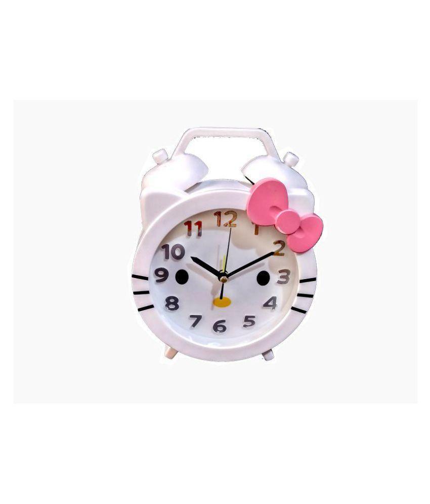 Cartoon 2-in-1 Table Cum Wall Alarm Clock, Kids Room Character HELLO KITTY