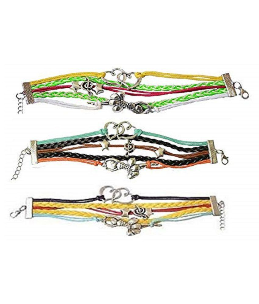GirlZ! Multi-Color Leather Double Heart Music Stars Dancing Girl Multilayer Leather Bracelet For Women(Combo Pack of 3)