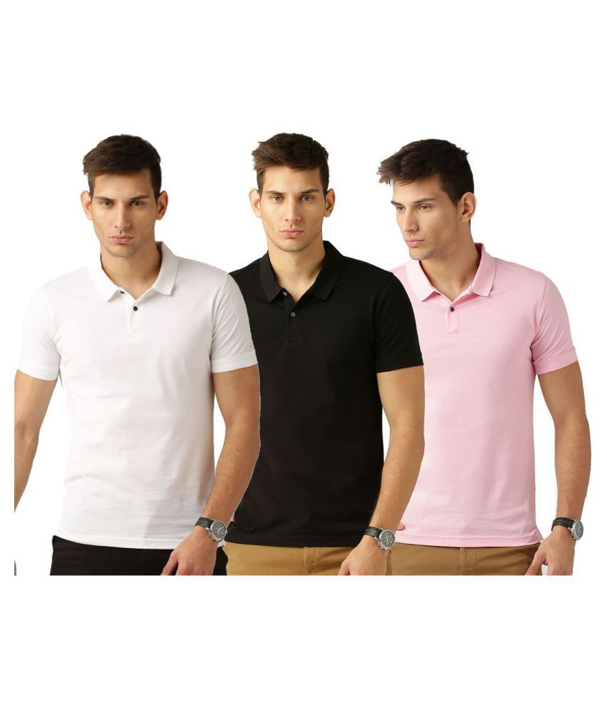 Galatea Multi Slim Fit Polo T Shirt Pack of 3
