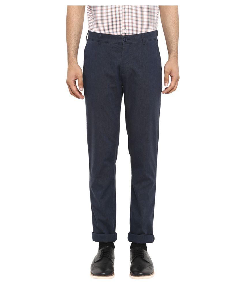 Colorplus Dark Blue Regular -Fit Flat Trousers