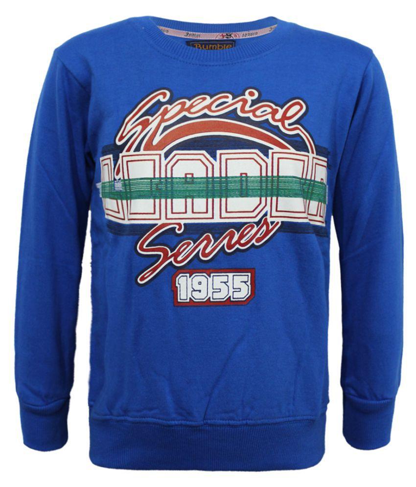 Kothari Boys Full Sleeves Printed  Royal Blue Color Fleece Regular Fit Boys Sweatshirt