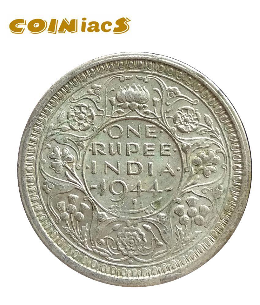 One Rupee George VI 1944, Silver Coin, Bombay Mint, British India