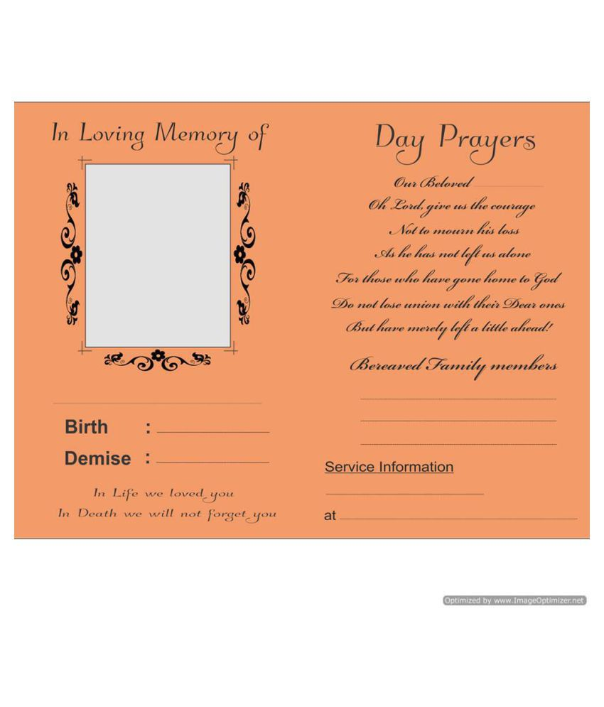Death Memorial And Anniversary themed 30 Invitation cards - Fill in style