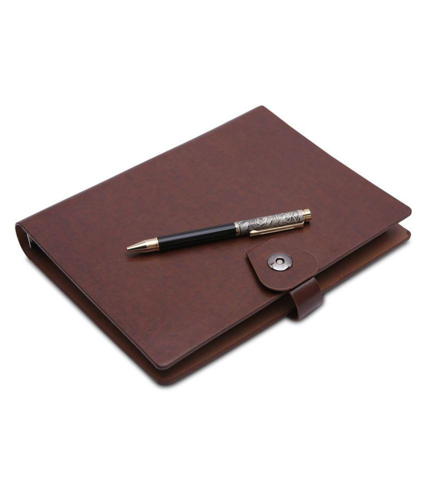 COI Brown Faux Leather Documents Organiser Weekly Undated Planner Note Book Year Journal Diary 2019 Unique Corporate Gift for Man and Woman with Pen