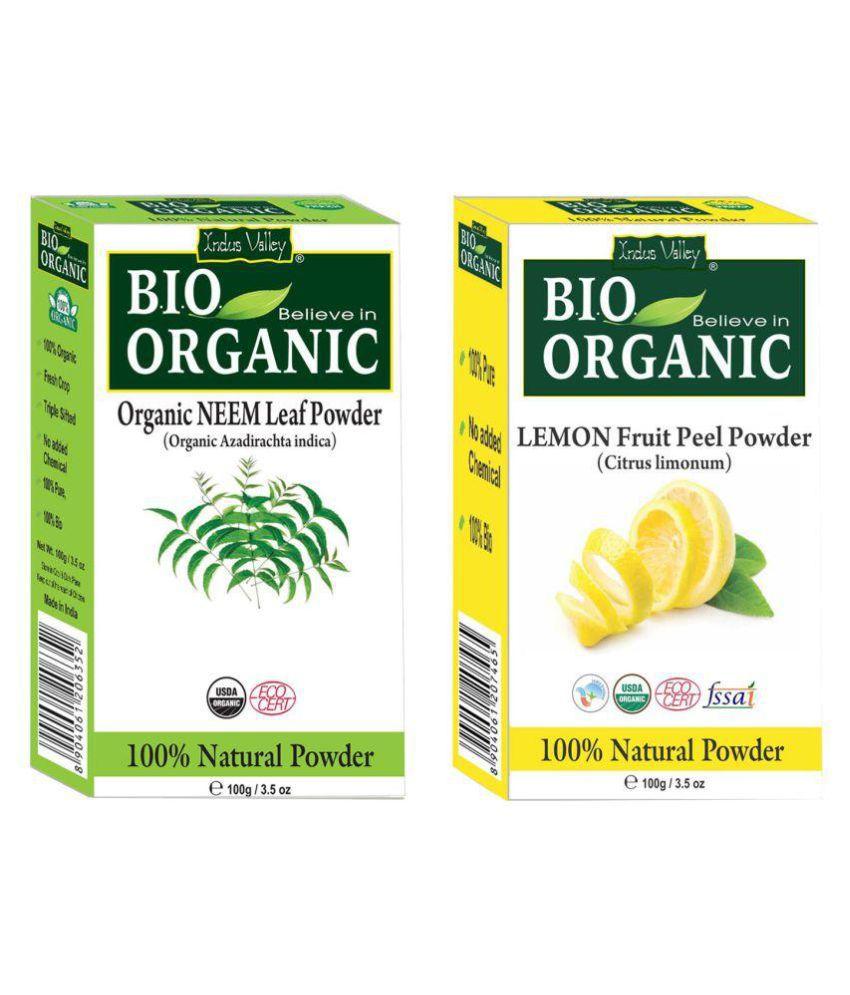Indus Valley Neem Powder & Lemon Peel Powder For Healthy Scalp Deep Conditioner 200 gm Pack of 2