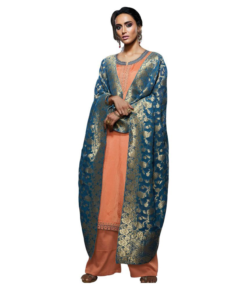 Like A Diva Blue and Grey Silk Dress Material