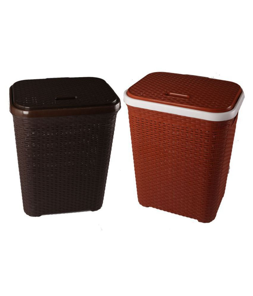 Esquire Plastic Laundry/Cloth Basket 40 Liters (Pack of 2)