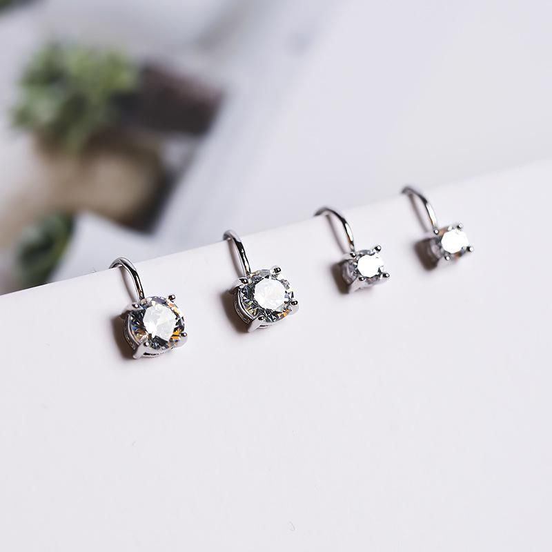 Fashion Geometric Zircon No Piercing Clip Earrings Cute Earrings Gift for Girls Women