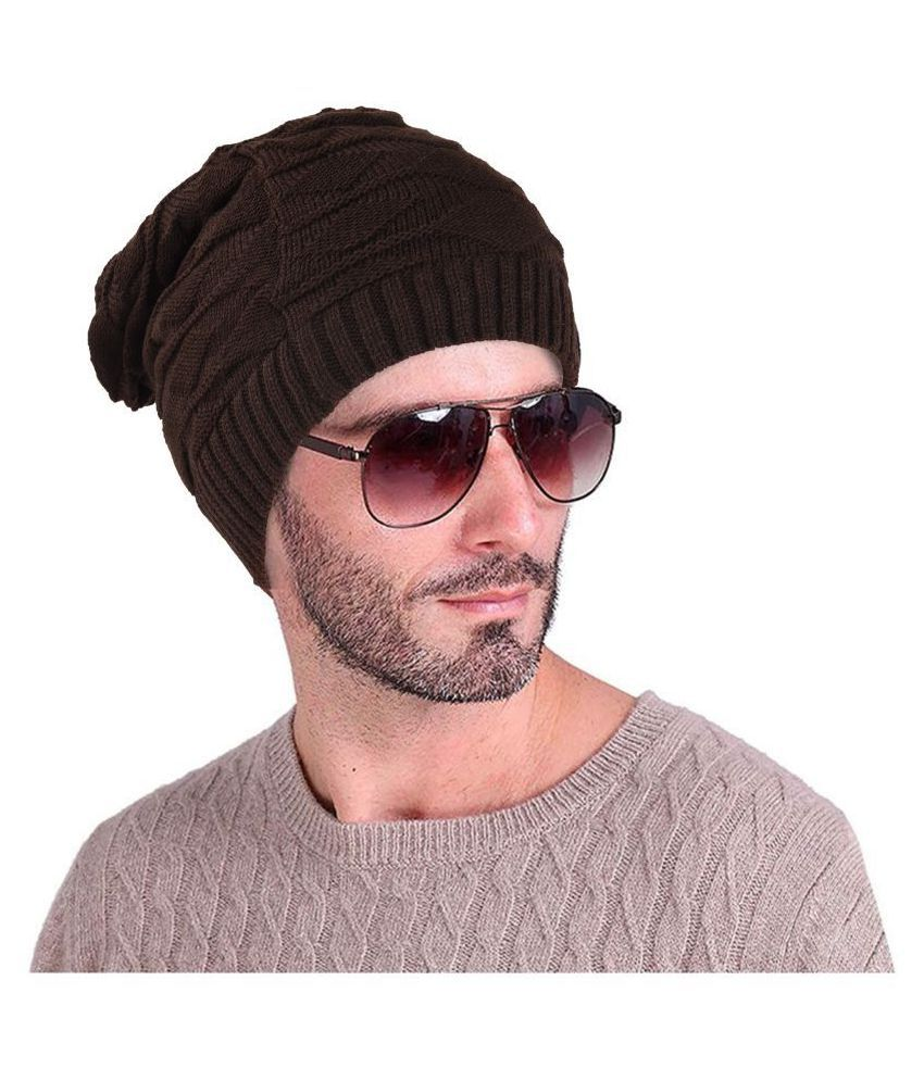 ... DRUNKEN Warm Winter Womens Mens Slouchy Soft Stretch Cable Knitted Slouchy  Beanie Caps Skully Hat Brown ... dde5b24596b