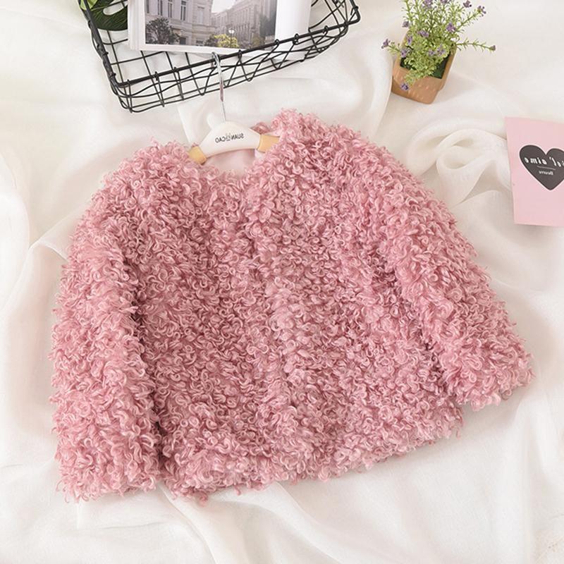 Fleece Girls Solid Color Autumn Winter Warm Coats For 2Y-11Y