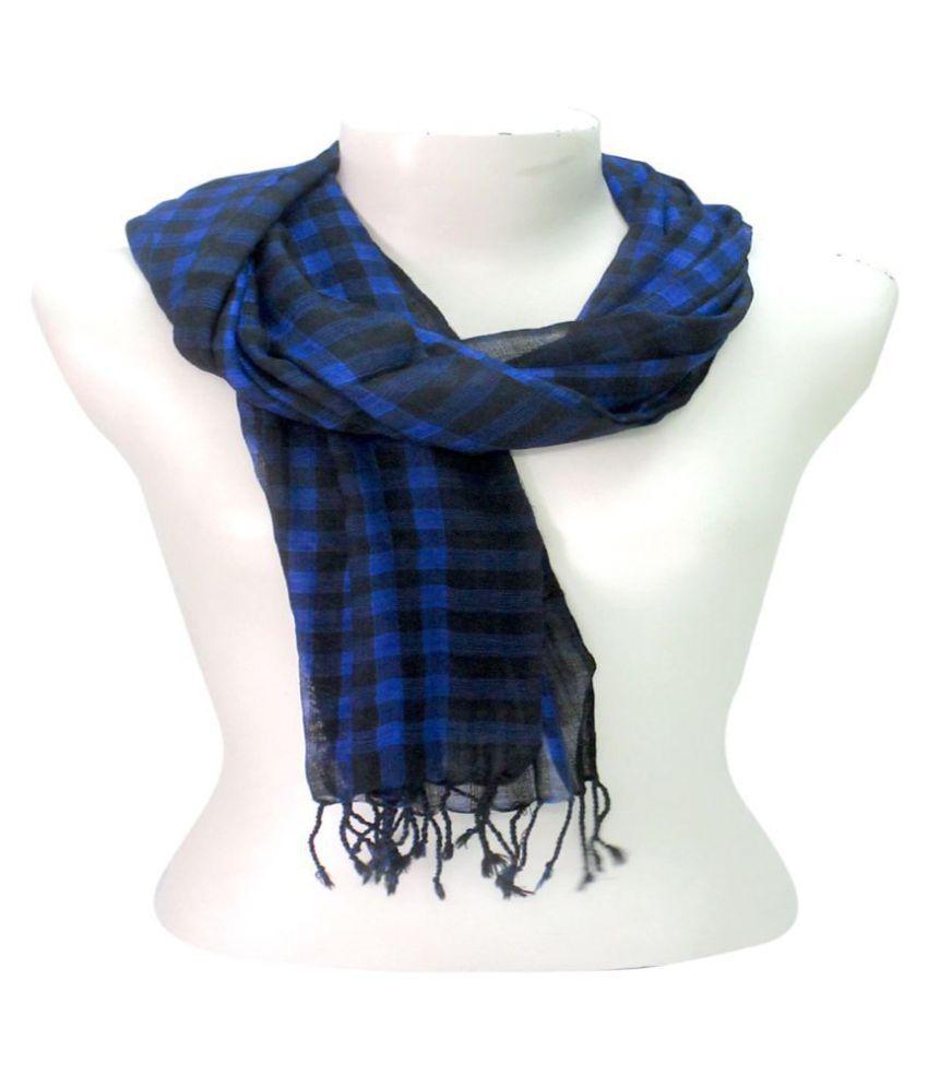 DUSHAALAA Blue Checkered Wool Scarves