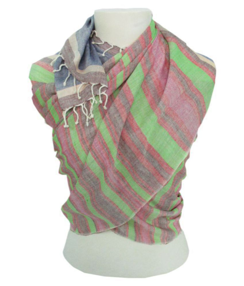 DUSHAALAA Multi Stripes Viscose Scarves