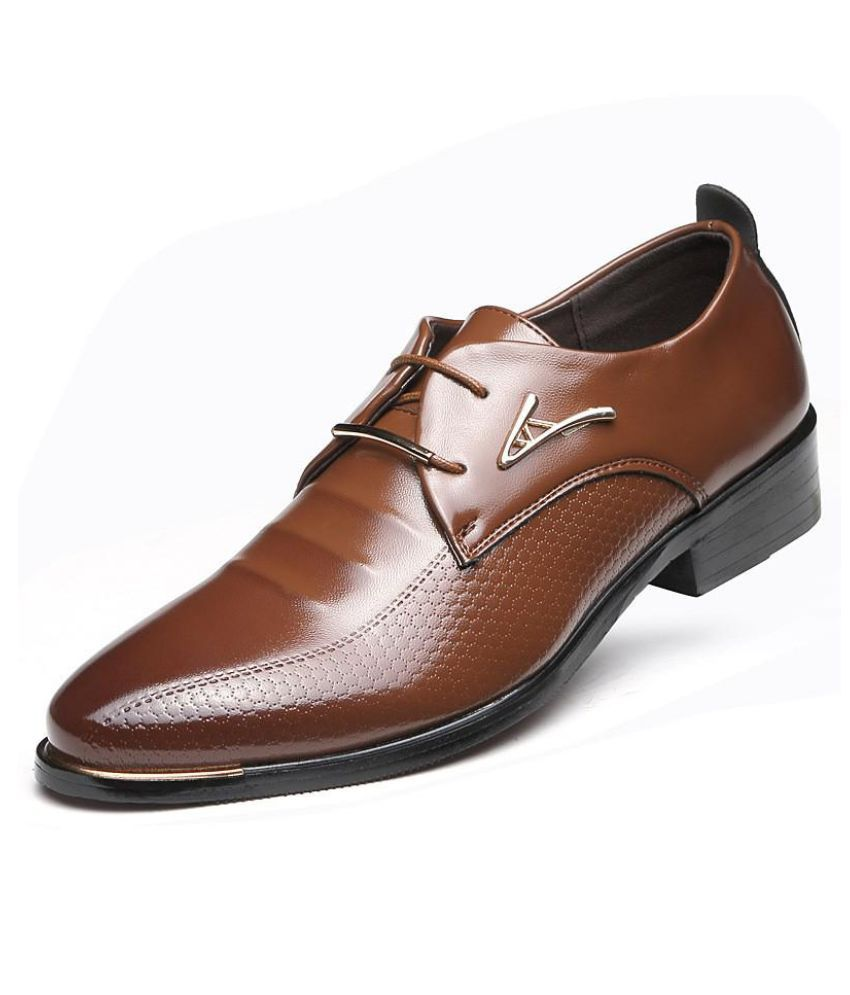 34d39e512a7563 ... Men's Leather Shoes Dress Business Oxford Formal Lace Up Pointy Toe  Wedding ...