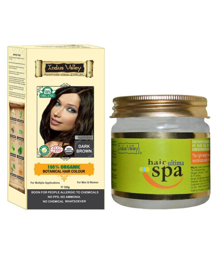 Indus Valley Botanical Dark Brown Hair Color For Allergic Sufferers With Hair Ultima Spa Mask