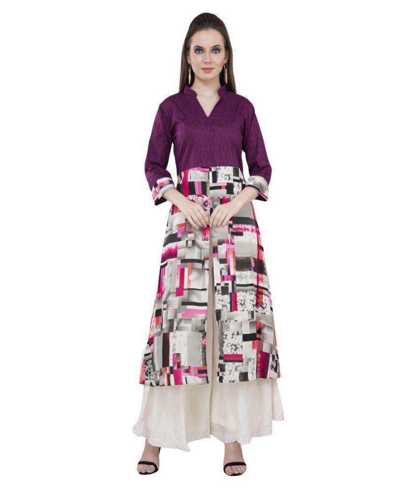 katyal's couture Orange Cotton Silk Straight Kurti