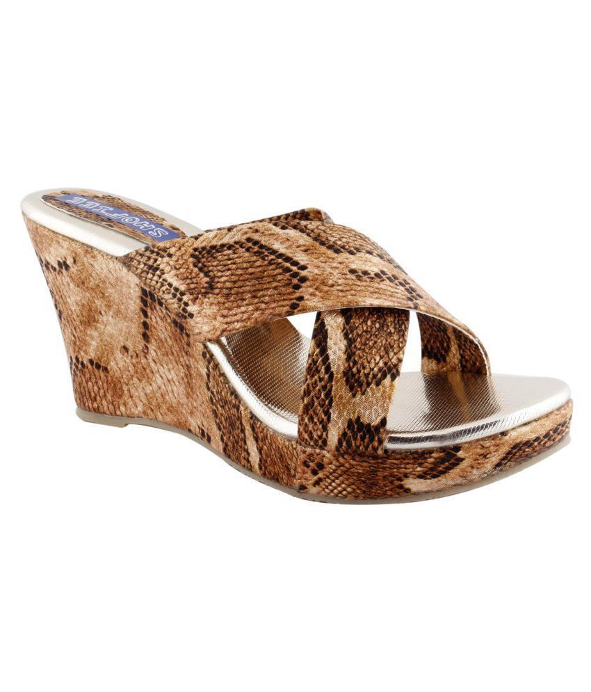 SHOFIEE Gold Wedges Heels