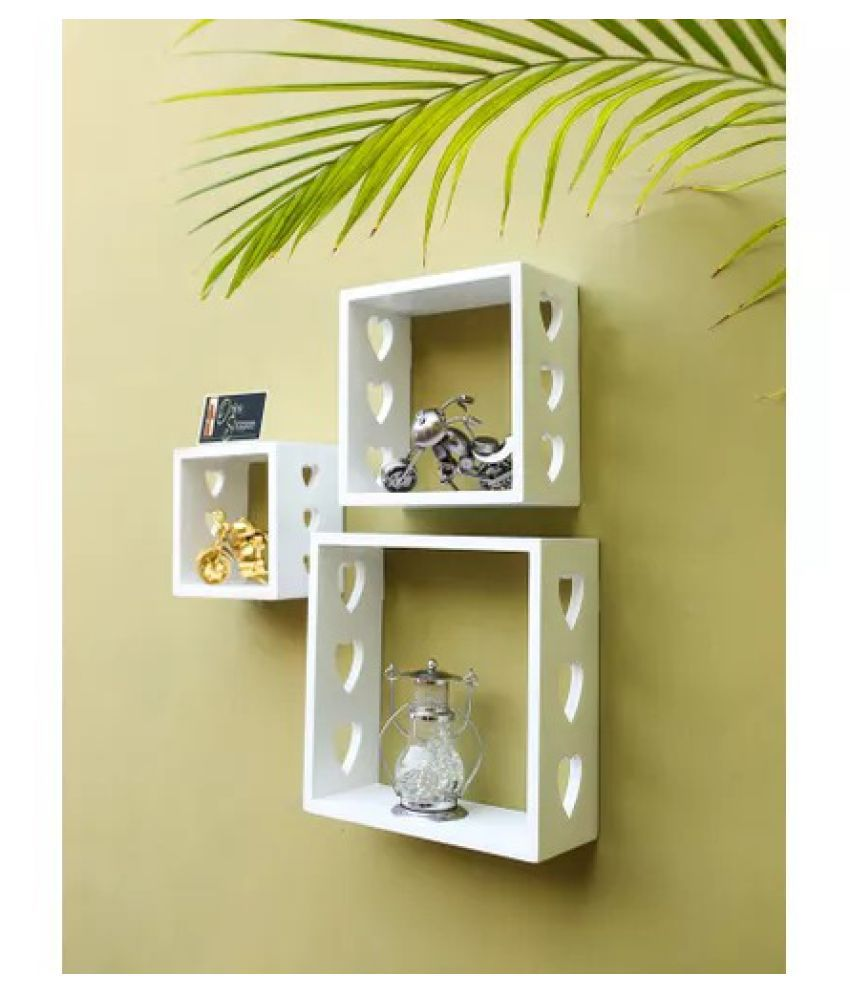 Onlineshoppee Floating Shelves White MDF - Pack of 3