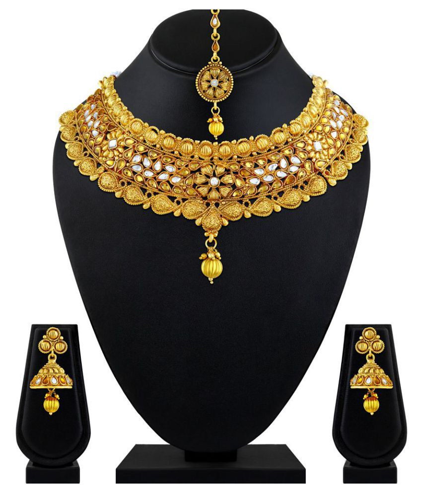 0097329595e88 Asmitta Jewellery Alloy Golden Contemporary Traditional Gold Plated  Necklaces Set