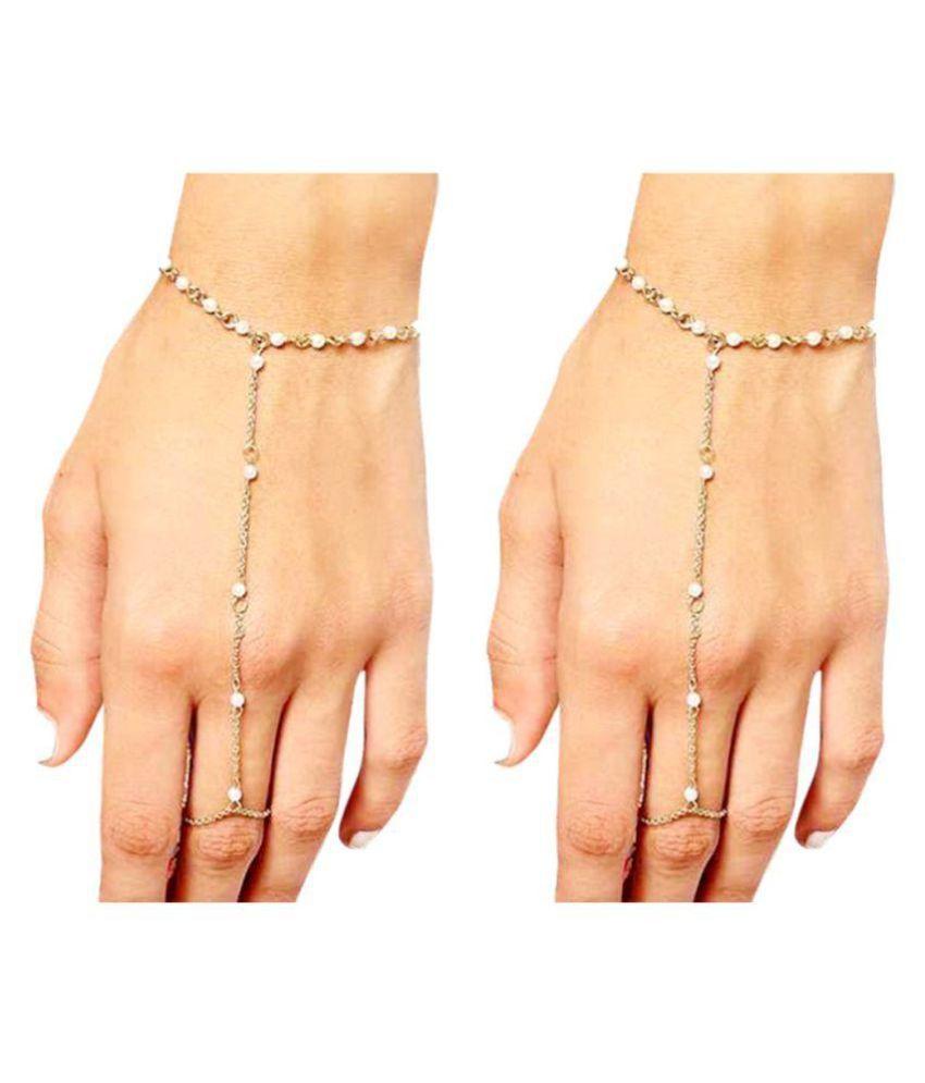 FemNmas Golden Tassel Crystal Pearl Bracelet Slave Finger Ring Hand Harness (Pair) for Women & Girls
