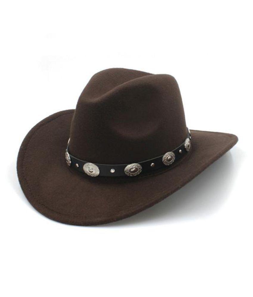 422d806ae3fd1c Wool Felt Vintage Western Cowboy Hat With Wide Brim Punk Leather Belt (  Size:57cm/US 7 1/8 Adjust Rope Inside) - Buy Online @ Rs.   Snapdeal