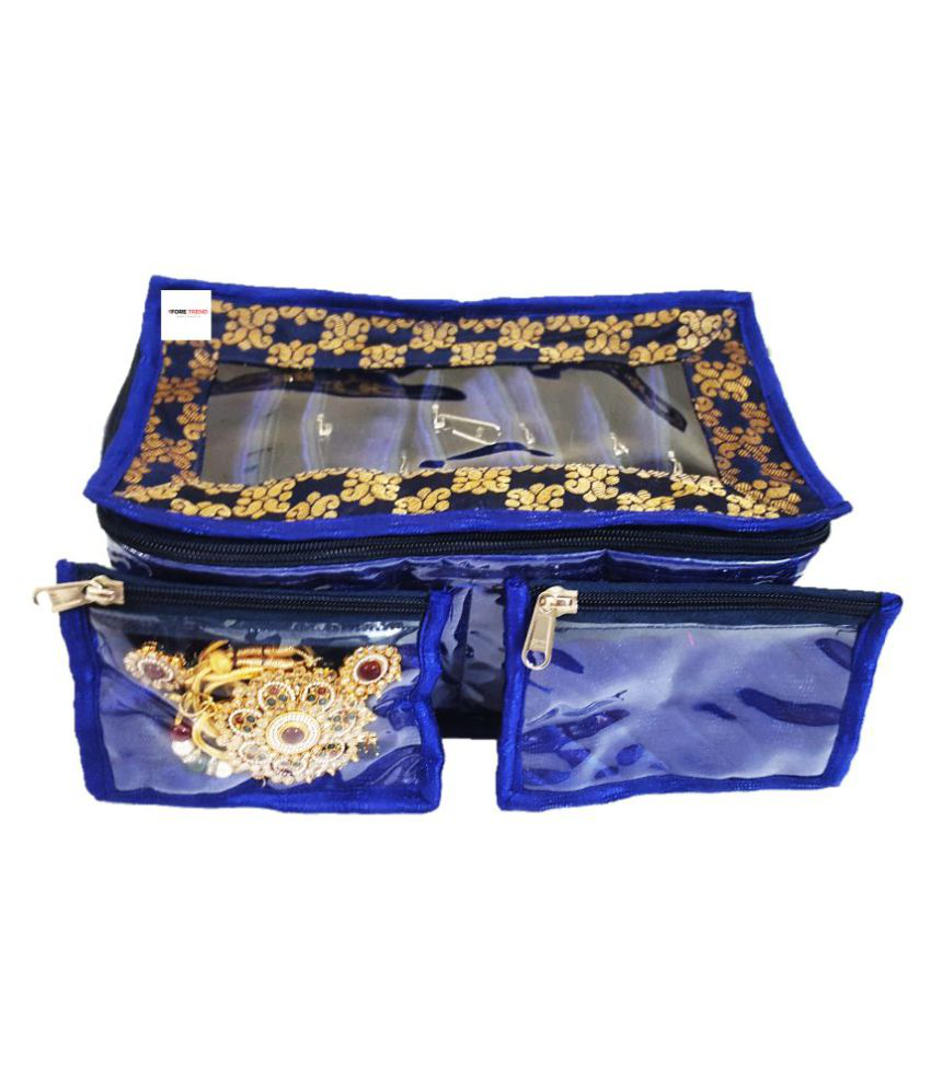 Foretrend Fabric 10 Transparent Pouches Jewellery Box (Blue)
