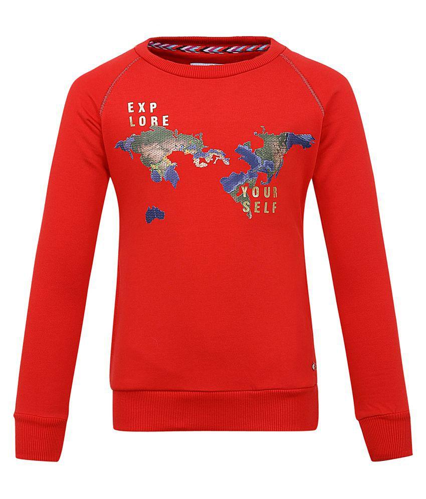 Monte Carlo Red Printed Cotton Round Neck Sweatshirts