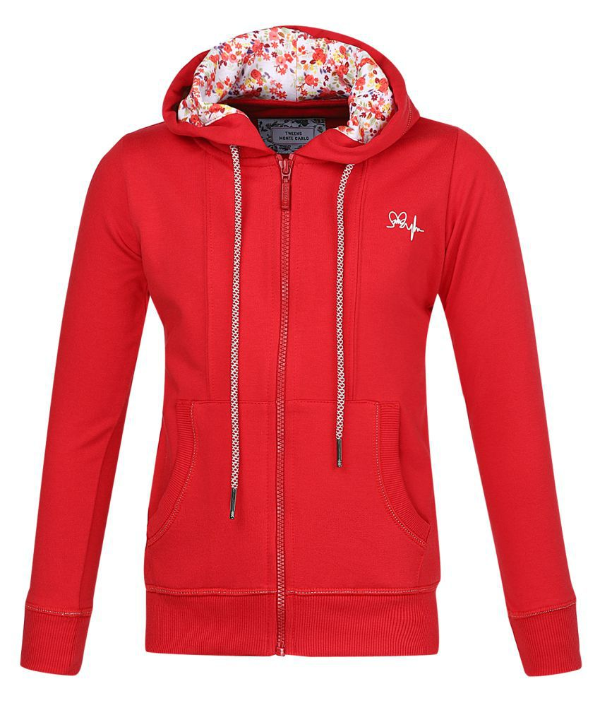 Monte Carlo Red Solid Cotton Hood Sweatshirts